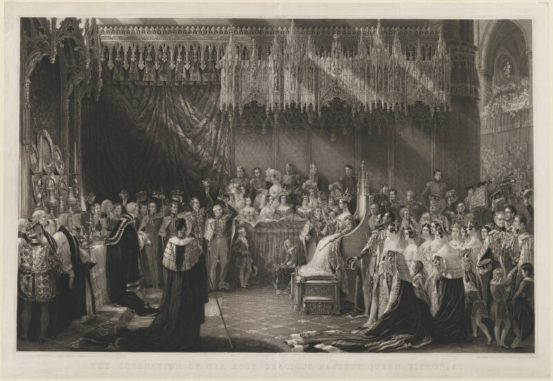 Queen Victoria ('The Coronation of Queen Victoria, 28 June 1838'), by Henry Thomas Ryall, and by  Henry Bryan Hall, after  Sir George Hayter, published 1842 - NPG D9968 - © National Portrait Gallery, London