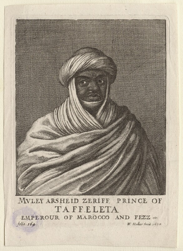 Muley Arsheid Zeriff, by Wenceslaus Hollar, 1670 - NPG D9996 - © National Portrait Gallery, London