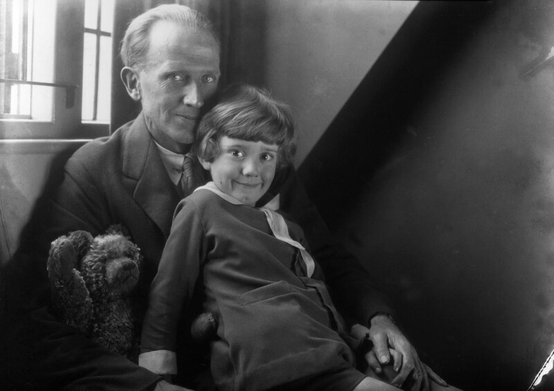 A.A. Milne; Christopher Robin Milne and Pooh Bear, by Howard Coster, 1926 - NPG x19575 - © National Portrait Gallery, London