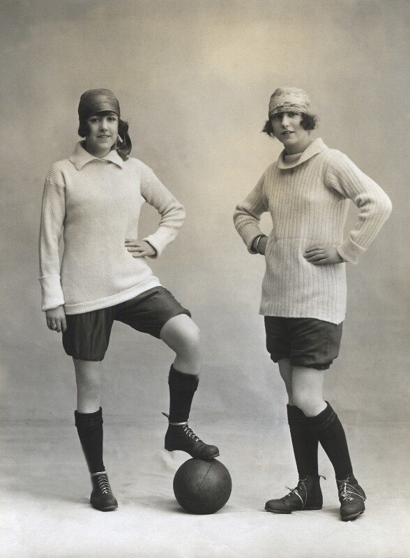 Marjorie Dolman as captain and Dorothy Dolman as centre-half in the Gaiety football team, by Bassano Ltd, 1 May 1919 - NPG x83052 - © National Portrait Gallery, London