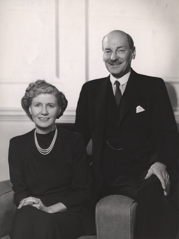 Violet Helen (née Millar), Countess Attlee; Clement Attlee, by Bassano Ltd, 1946 - NPG x83560 - © National Portrait Gallery, London