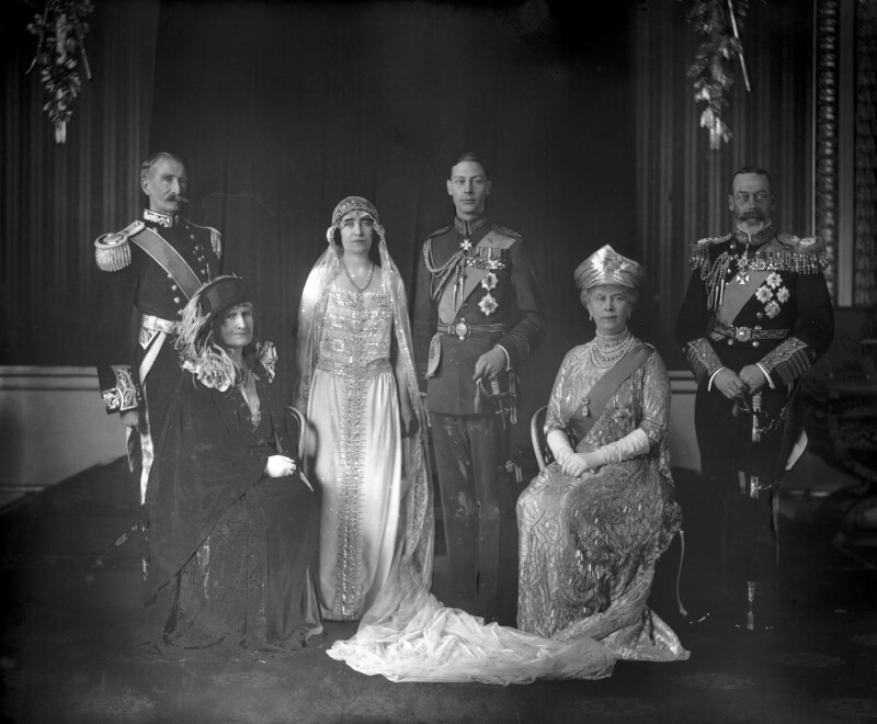 The wedding of King George VI and Queen Elizabeth, the Queen Mother, by Bassano Ltd, 26 April 1923 - NPG x95763 - © National Portrait Gallery, London