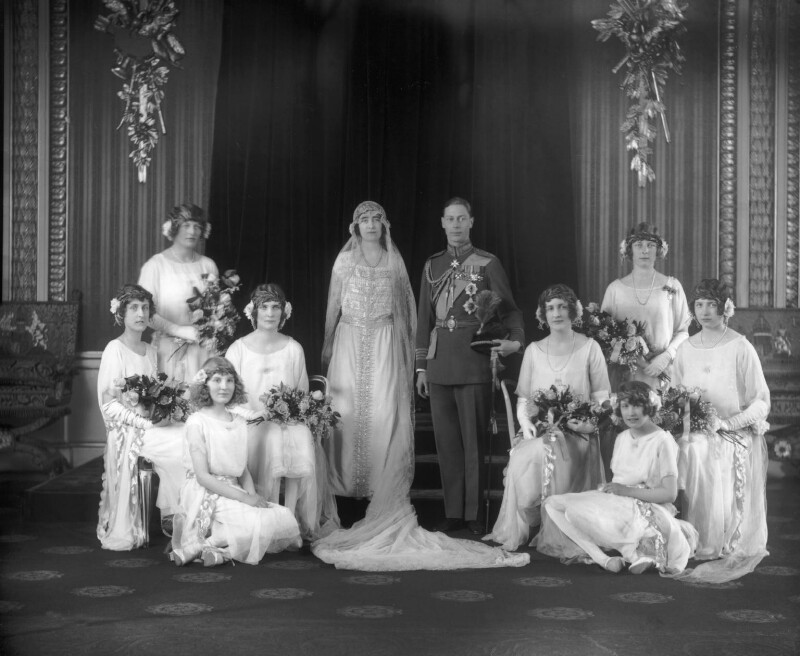 The wedding of King George VI and Queen Elizabeth, the Queen Mother, by Bassano Ltd, 26 April 1923 - NPG x95764 - © National Portrait Gallery, London