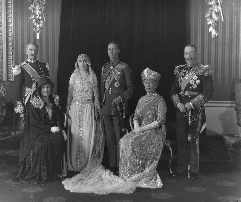 The wedding of King George VI and Queen Elizabeth, the Queen Mother, by Bassano Ltd, 26 April 1923 - NPG x95768 - © National Portrait Gallery, London