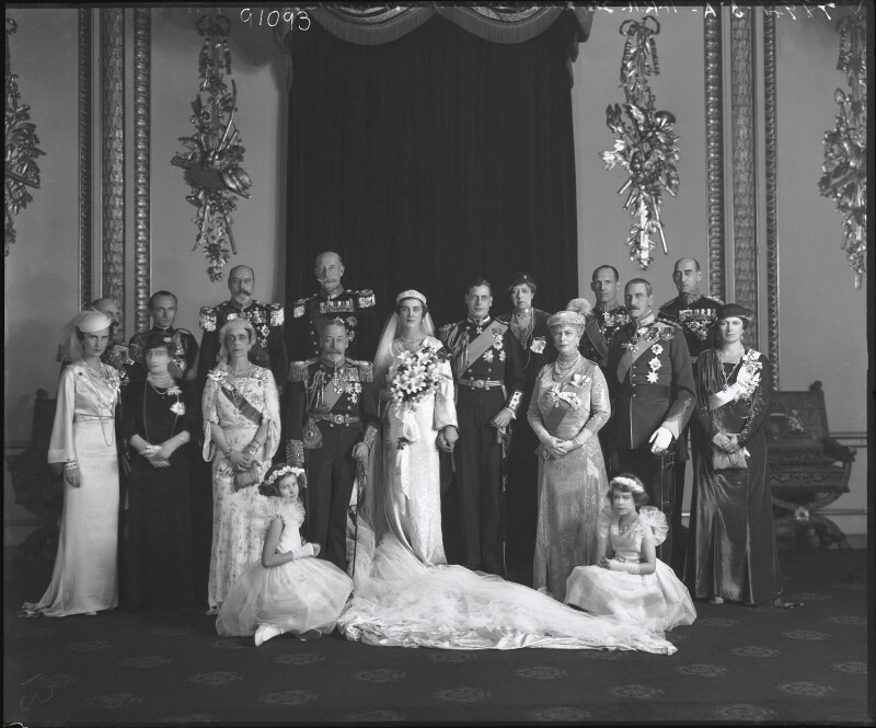 The wedding of Prince George, Duke of Kent and Princess Marina, Duchess of Kent, by Bassano Ltd, 29 November 1934 - NPG x95790 - © National Portrait Gallery, London