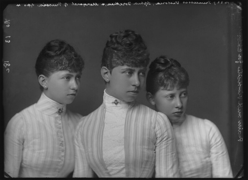 Group photo of three sisters of Prussia. Margarete, Victoria and Sophie., by Alexander Bassano, circa 1887 - NPG x95907 - © National Portrait Gallery, London