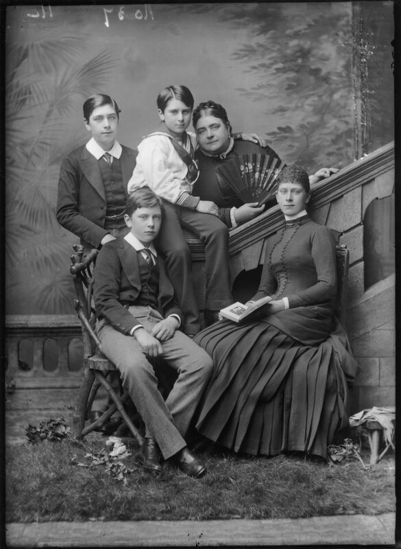 Queen Mary with her mother and brothers, by Alexander Bassano, circa 1884 - NPG x96005 - © National Portrait Gallery, London