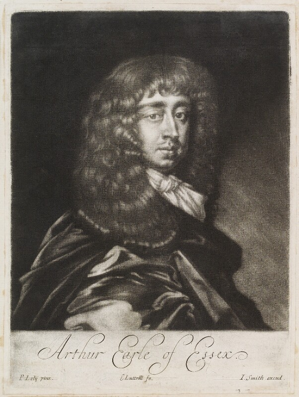 Arthur Capel, 1st Earl of Essex, by Edward Lutterell (Luttrell), published by  John Smith, after  Sir Peter Lely, circa 1682 - NPG D11956 - © National Portrait Gallery, London
