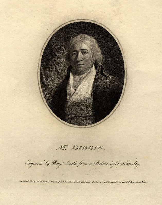 Charles Dibdin, by Benjamin Smith, after  Thomas Kearsley, published 1801 - NPG D11016 - © National Portrait Gallery, London