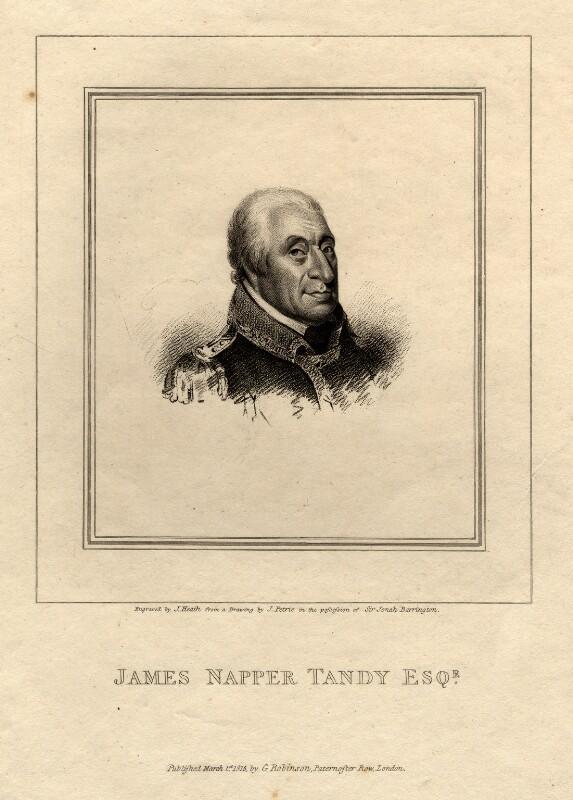 James Napper Tandy, by James Heath, after  James Petrie, published 1815 - NPG D11031 - © National Portrait Gallery, London