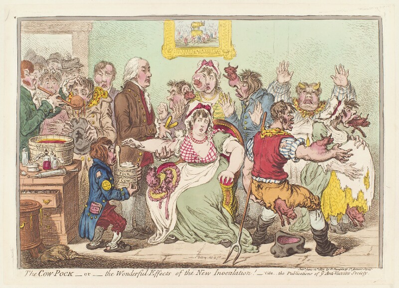 Edward Jenner ('The cow pock - or - the wonderful effects of the new inoculation!'), by James Gillray, published by  Hannah Humphrey, published 12 June 1802 - NPG D13037 - © National Portrait Gallery, London