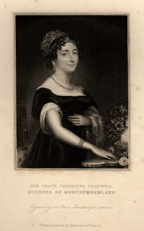 Charlotte Florentia Percy (née Clive), Duchess of Northumberland, by Thomas Anthony Dean, published by  Edward Bull, after  Christina Robertson (née Saunders), published 1829 (1825) - NPG D11046 - © National Portrait Gallery, London