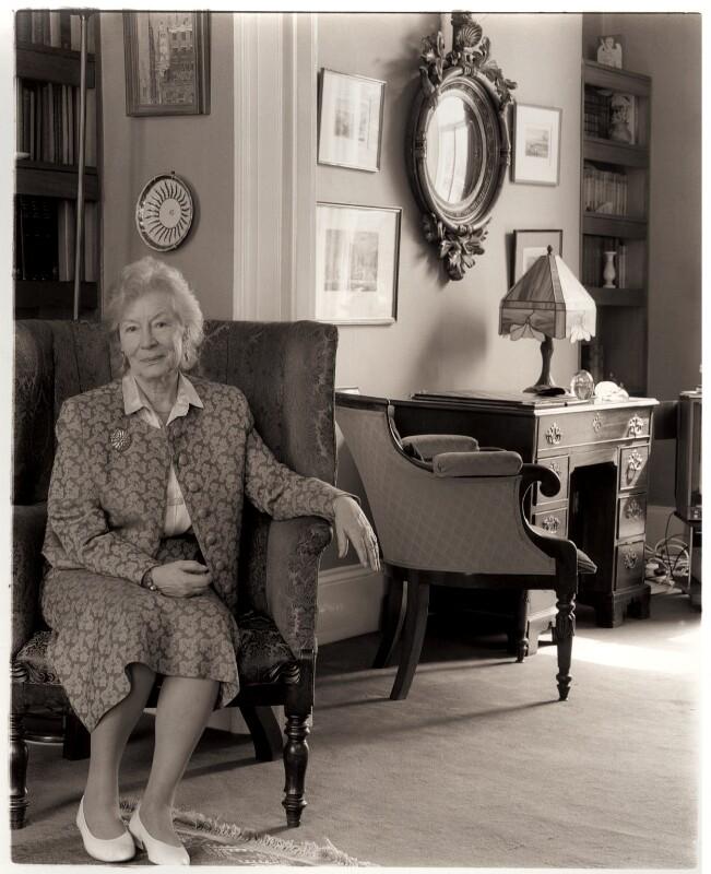 Nina Mary Bawden, by David Bennett, 27 April 1994 - NPG x45968 - © David Bennett/ National Portrait Gallery, London