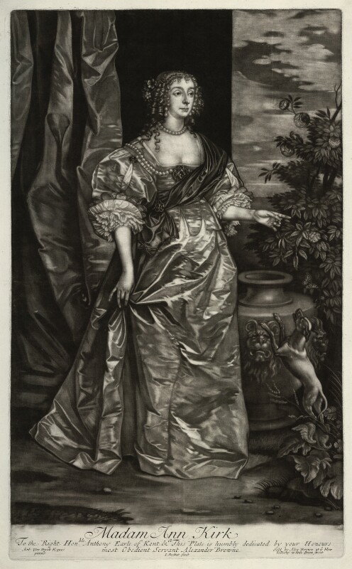 Anne Kirke (née Killigrew), by Isaac Beckett, published by  Alexander Browne, after  Sir Anthony van Dyck, circa 1684 (circa 1637) - NPG D11449 - © National Portrait Gallery, London