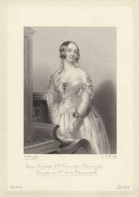Jane Elizabeth (née Liddell), Viscountess Barrington, by William Henry Mote, after  John Hayter, published 1854 - NPG D11125 - © National Portrait Gallery, London