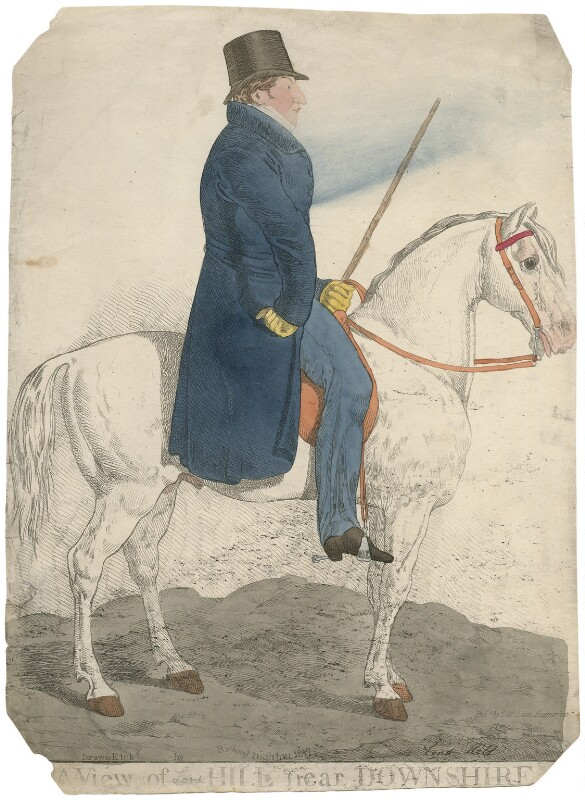 Arthur Trumbull Hill, 3rd Marquess of Downshire ('A view of Hill near Downshire'), by and published by Richard Dighton, reissued by  Thomas McLean, published 1817 - NPG D8743 - © National Portrait Gallery, London
