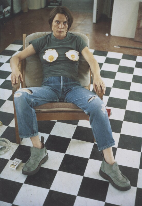 Sarah Lucas ('Self-Portrait with Fried Eggs'), by Sarah Lucas, 1996 - NPG P884(5) - © Sarah Lucas