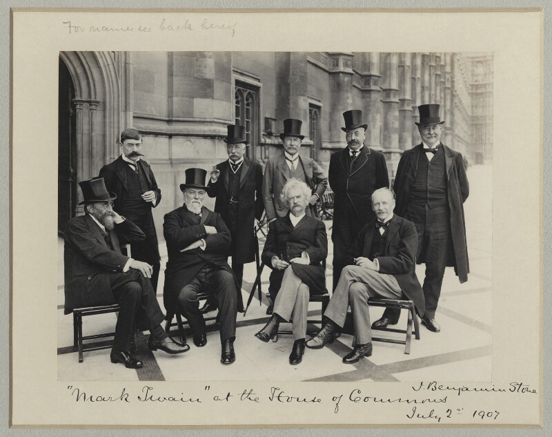 Mark Twain at the House of Commons, by Benjamin Stone, 2 July 1907 - NPG x89001 - © National Portrait Gallery, London