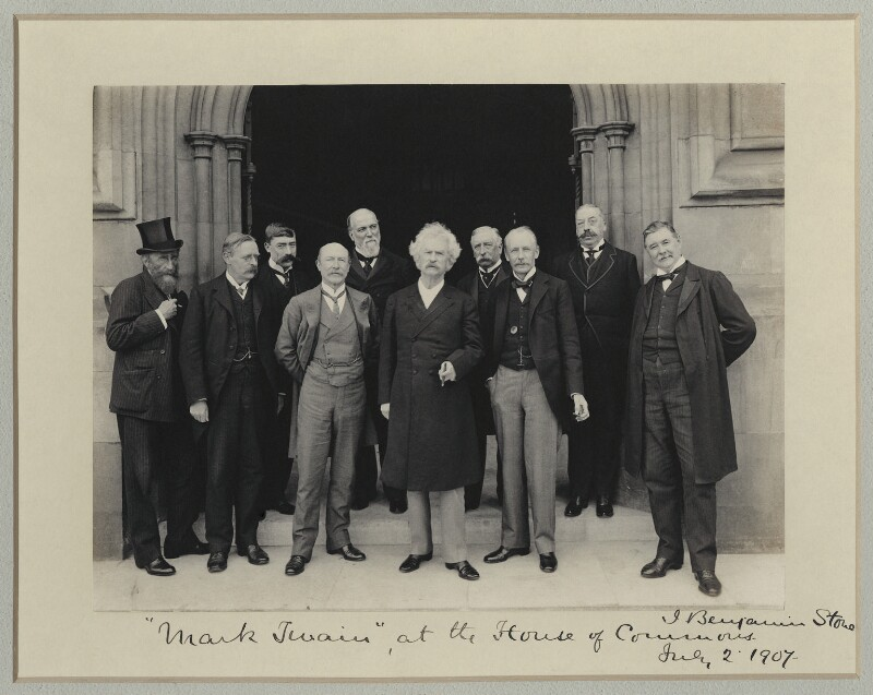 Mark Twain at the House of Commons, by Sir (John) Benjamin Stone, 2 July 1907 - NPG x89002 - © National Portrait Gallery, London