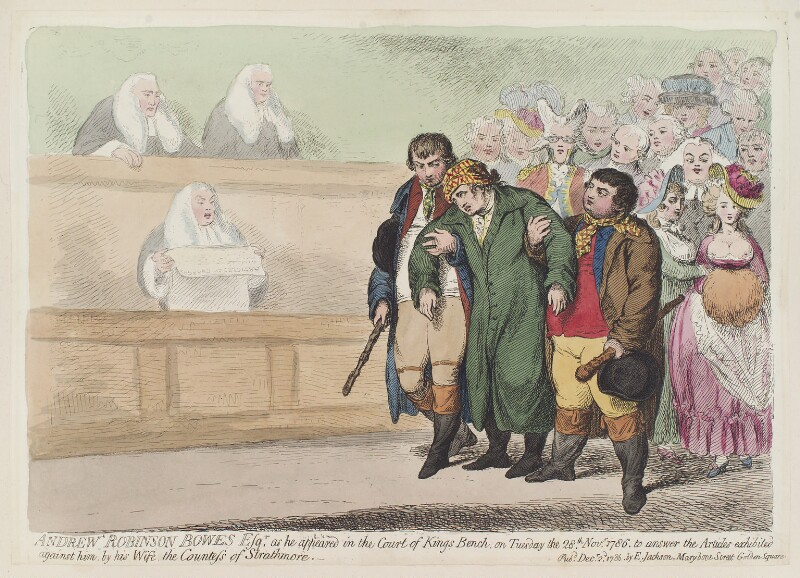 'Andrew Robinson Bowes Esqr. as he appeared in the Court of Kings Bench', by James Gillray, published by  Elizabeth Jackson, published 2 December 1786 - NPG D12353 - © National Portrait Gallery, London