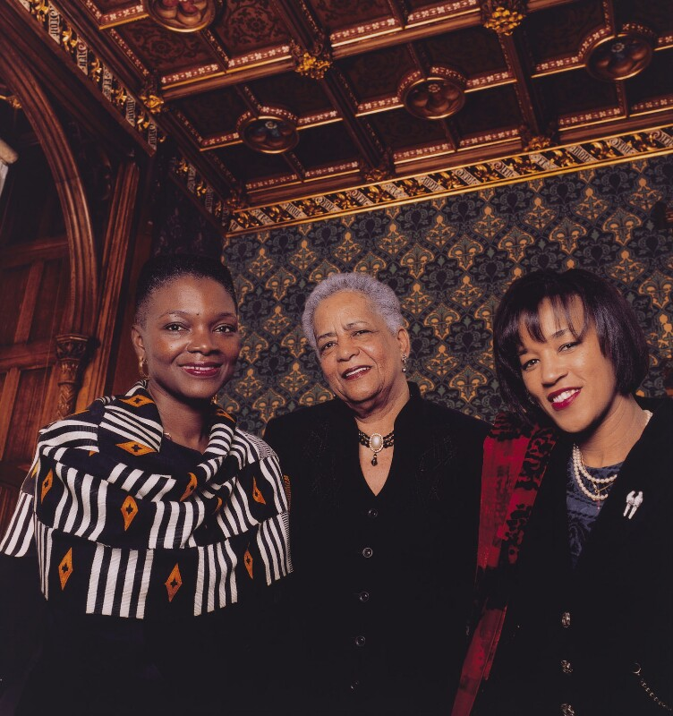 Valerie, Baroness Amos of Brondesbury; Rosalind, Baroness Howells of St Davids; Patricia, Baroness Scotland of Asthal, by Robert Taylor, 27 January 2000 - NPG x125032 - © Robert Taylor
