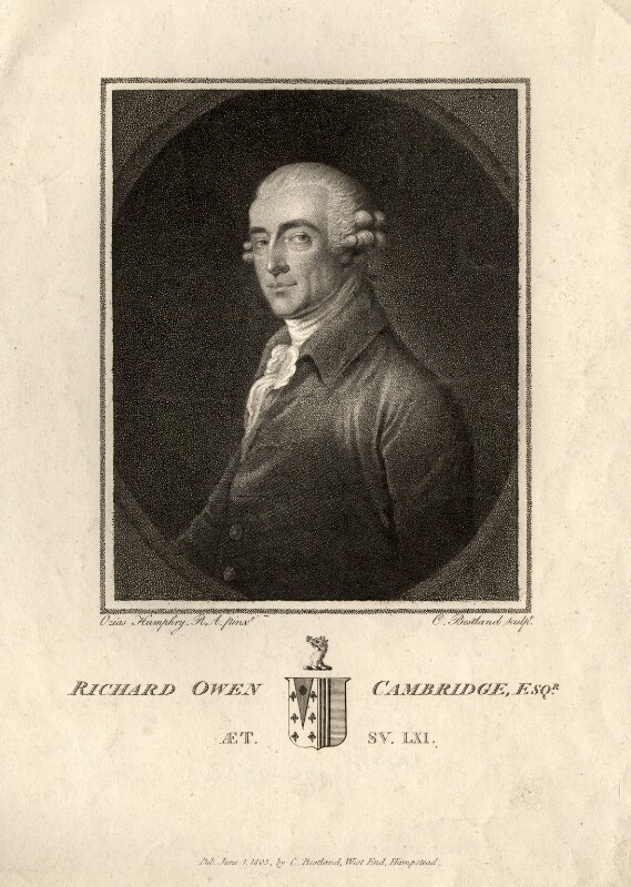 Richard Owen Cambridge, by and published by Charles (Cantelowe, Cantlo) Bestland, after  Ozias Humphry, published 1 June 1803 - NPG D11210 - © National Portrait Gallery, London