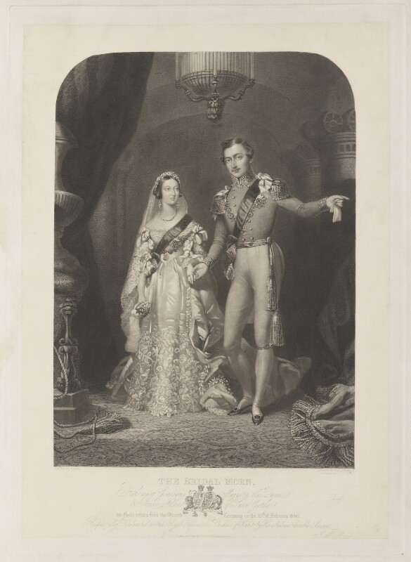 The Bridal Morn (Queen Victoria; Prince Albert of Saxe-Coburg-Gotha), by Samuel William Reynolds Jr, published by  John William Laird, after  Frederick William Lock, published 1844 (circa 1840-1841) - NPG D11227 - © National Portrait Gallery, London