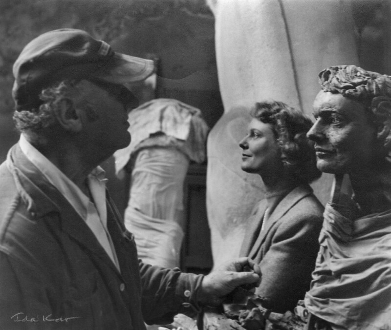 Jacob Epstein; Anna Neagle, by Ida Kar, 1953 - NPG x125065 - © National Portrait Gallery, London