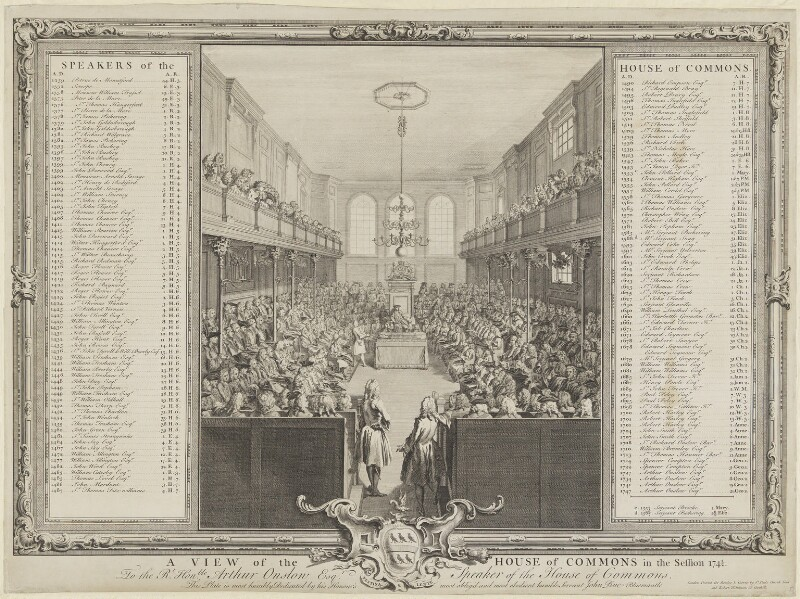 A View of the House of Commons (includes Robert Walpole, 1st Earl of Orford; Arthur Onslow and numerous other sitters), by John Pine, published 1749 - NPG D11092 - © National Portrait Gallery, London