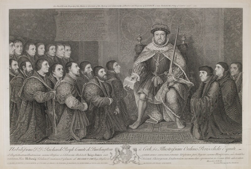 Henry VIII Presenting a Charter to the Barber Surgeons Company, by Bernard Baron, after  Hans Holbein the Younger, 1736 - NPG D11098 - © National Portrait Gallery, London