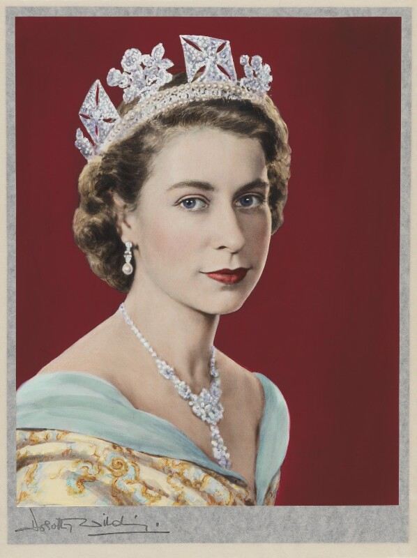 Queen Elizabeth II, by Dorothy Wilding, hand-coloured by  Beatrice Johnson, 26 February 1952 - NPG x125105 - © William Hustler and Georgina Hustler / National Portrait Gallery, London