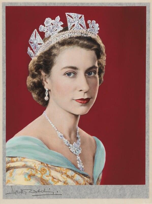 Queen Elizabeth II, by Dorothy Wilding, hand-coloured by  Beatrice Johnson, 26 February 1952 - NPG x125105 - © William Hustler and Georgina Hustler / National Portrait Gallery, London