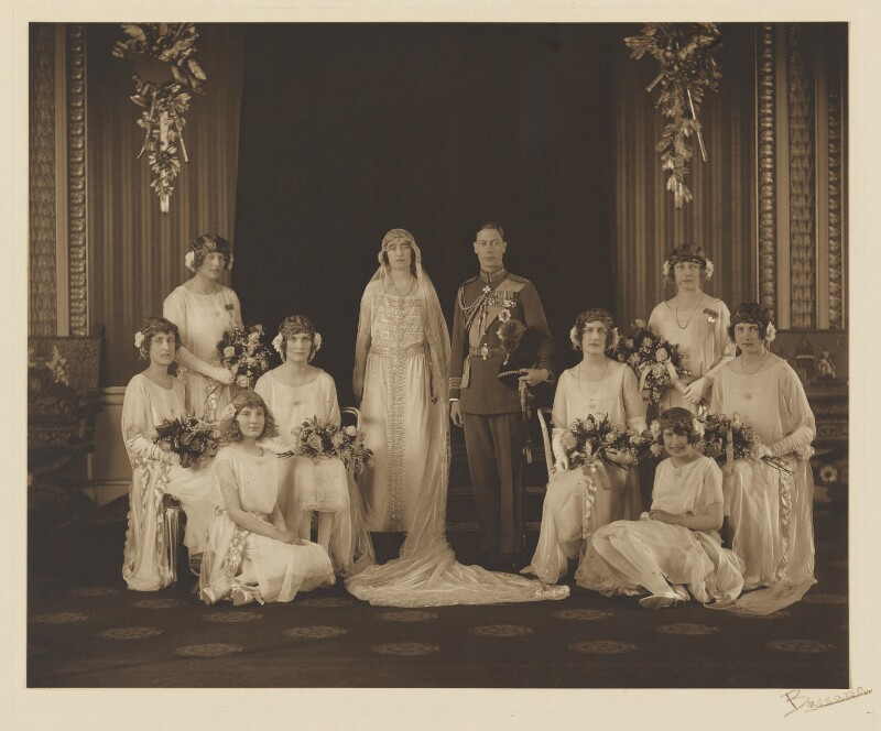 The wedding of King George VI and Queen Elizabeth, the Queen Mother, by Bassano Ltd, 26 April 1923 - NPG x11910 - © National Portrait Gallery, London