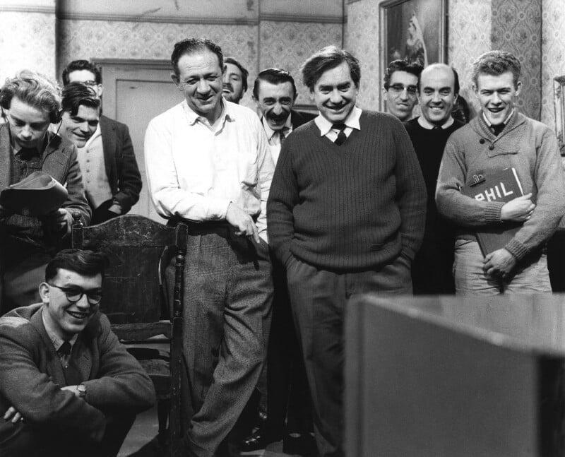 Sid James; Tony Hancock; Mario Fabrizi; and eight studio staff, by Bob Collins, 1959 - NPG x36010 - © estate of Bob Collins / National Portrait Gallery, London