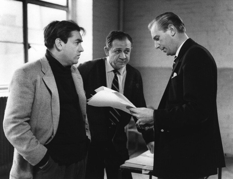 Tony Hancock; Sid James; Duncan Wood, by Bob Collins, 1959 - NPG x36042 - © estate of Bob Collins / National Portrait Gallery, London