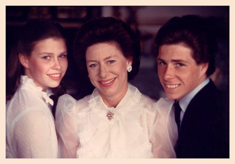 Lady Sarah Chatto; Princess Margaret; David Albert Charles Armstrong-Jones, Viscount Linley, by Norman Parkinson, 1981 - NPG x30174 - © Norman Parkinson Archive