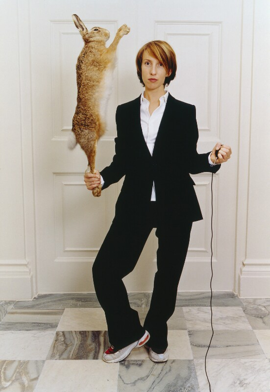 Sam Taylor-Johnson (Sam Taylor-Wood) ('Self-portrait in Single-breasted Suit with Hare'), by Sam Taylor-Johnson (Sam Taylor-Wood), 2014, based on a work of 2001 - NPG P959 - © Sam Taylor-Wood