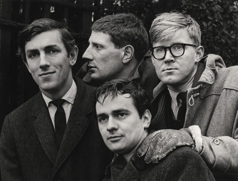Beyond the Fringe (Peter Edward Cook; Jonathan Miller; Dudley Moore; Alan Bennett), by Lewis Morley, 1961 - NPG x27384 - © Lewis Morley Archive / National Portrait Gallery, London