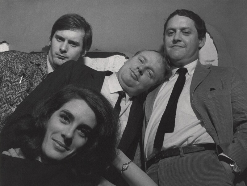 'The Establishment' cast (John Fortune; Eleanor Bron; John Bird; Jeremy Geidt), by Lewis Morley, 1960s - NPG x125249 - © Lewis Morley Archive
