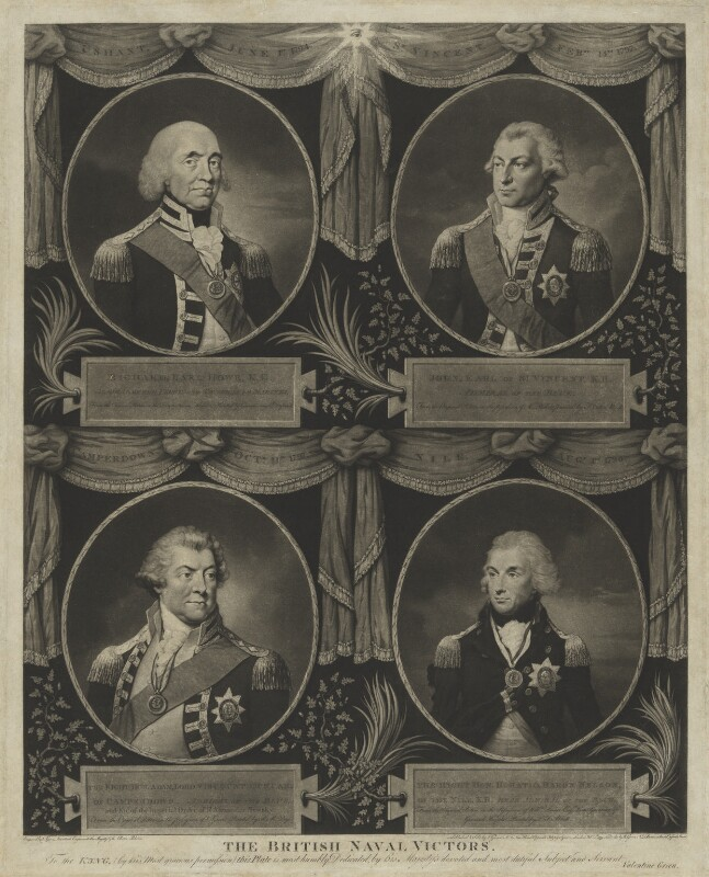 The British Naval Victors, by Valentine Green, after  Gainsborough Dupont, and after  Francis Cotes, and after  Richard Morton Paye, and after  Lemuel Francis Abbott, published 1799 - NPG D11103 - © National Portrait Gallery, London