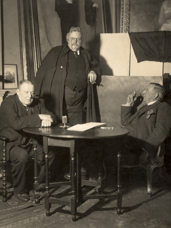 Hilaire Belloc; G.K. Chesterton and an unknown man, possibly by Paul Laib, 1932 - NPG x38279 - The de Laslzo Collection of Paul Laib Negatives, Witt Library, The Courtauld Institute of Art, London © The de Laslzo Foundation