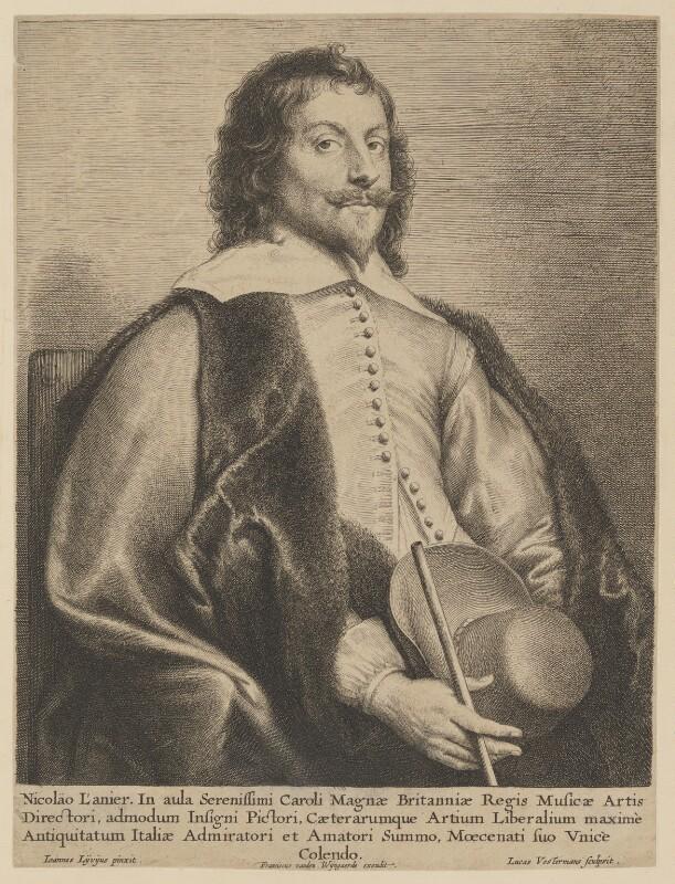 Nicholas Lanier, by Lucas Vorsterman, published by  Frans van den Wyngaerde (Wijngaerde), after  Jan Lievens, mid 17th century - NPG D11478 - © National Portrait Gallery, London