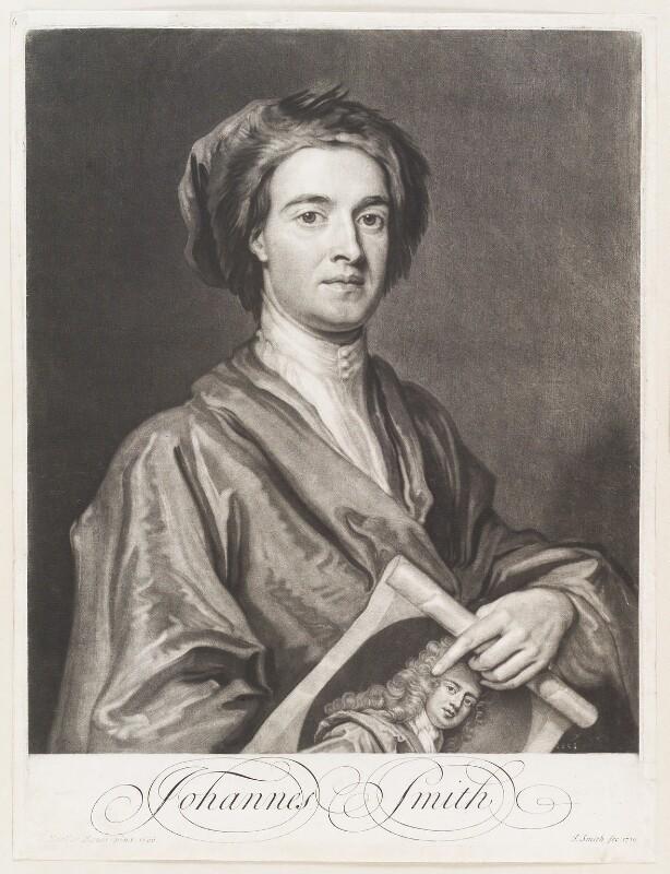 John Smith holding print by John Smith of Sir Godfrey Kneller, Bt, by John Smith, after  Sir Godfrey Kneller, Bt, 1716 (1696) - NPG D11491 - © National Portrait Gallery, London