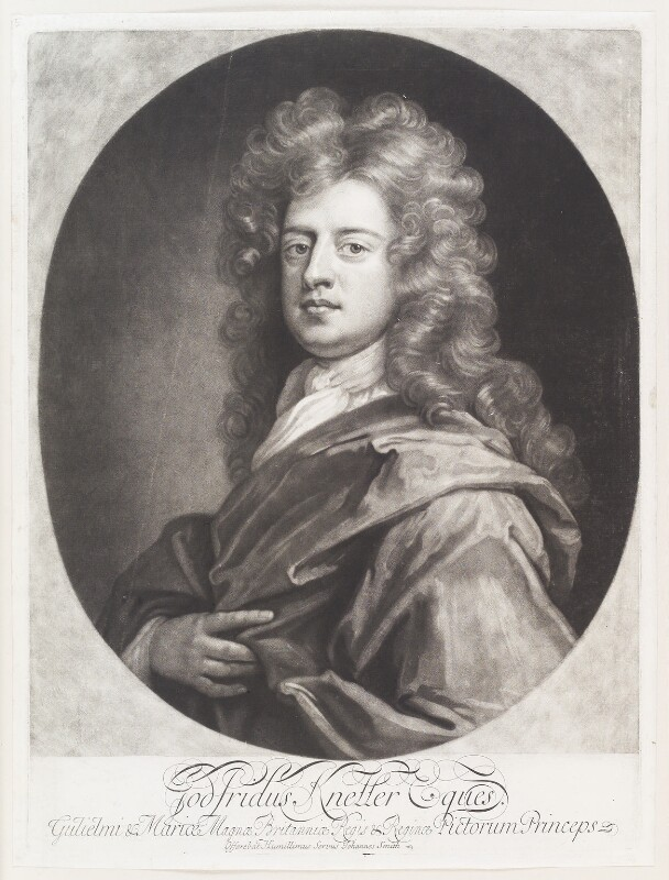 Sir Godfrey Kneller, Bt, by John Smith, after  Sir Godfrey Kneller, Bt, 1694 (circa 1688-1690) - NPG D11492 - © National Portrait Gallery, London