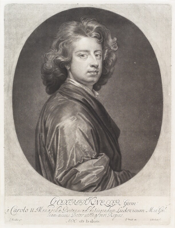 Sir Godfrey Kneller, Bt, by Isaac Beckett, published by  John Smith, after  Sir Godfrey Kneller, Bt, 1685-1688 (1685) - NPG D11493 - © National Portrait Gallery, London