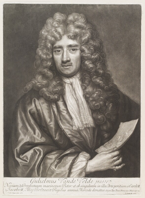 William van de Velde the Younger, by John Smith, after  Sir Godfrey Kneller, Bt, 1707 (1680) - NPG D11496 - © National Portrait Gallery, London