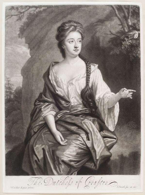 Isabella FitzRoy (née Bennet), Duchess of Grafton, by and published by John Smith, after  Sir Godfrey Kneller, Bt, 1692 - NPG D11594 - © National Portrait Gallery, London