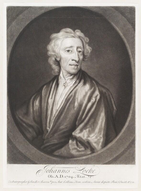 John Locke, by John Smith, after  Sir Godfrey Kneller, Bt, 1721 - NPG D11501 - © National Portrait Gallery, London
