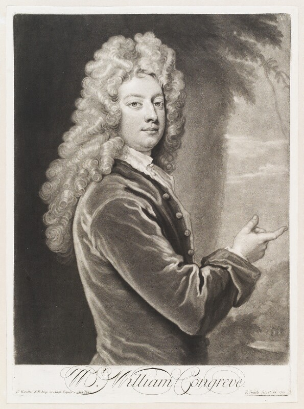 William Congreve, by and published by John Smith, after  Sir Godfrey Kneller, Bt, 1710 (1709) - NPG D11503 - © National Portrait Gallery, London