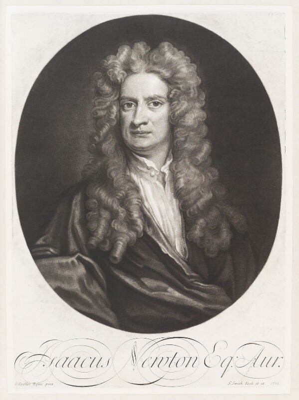 Sir Isaac Newton, by and published by John Smith, after  Sir Godfrey Kneller, Bt, 1712 (1702) - NPG D11505 - © National Portrait Gallery, London
